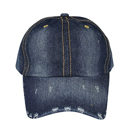 Peach Couture Unisex Sun Hats Washed Denim Hat Sports Baseball Cap Ripped  Dark Denim - Walmart.com b0882005a500