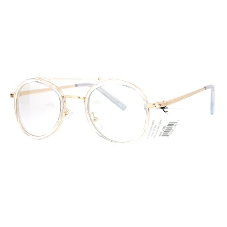 - SA106 Vintage Victorian Round Double Frame Mens Clear Lens Eye Glasses Clear Gold