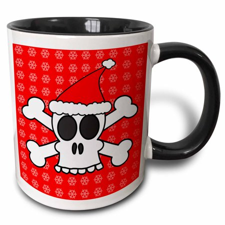 3dRose Skull and Crossbones Red Santa Hat Snowflakes - Two Tone Black Mug, 11-ounce (Snowflake Mug)