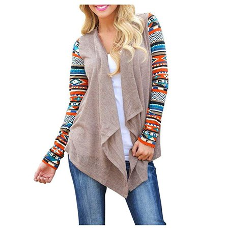 Womens Cardigans Solid High Low Long Sleeve Boho Open Front Blouses