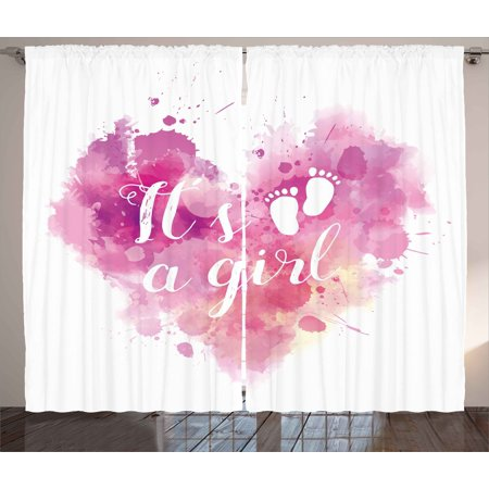 Gender Reveal Decorations Curtains 2 Panels Set, Heart Shaped Paintbrush It's A Girl Quote Baby Footprints, Window Drapes for Living Room Bedroom, 108W X 90L Inches, Fuchsia Pink White, by - Decoration Curtains