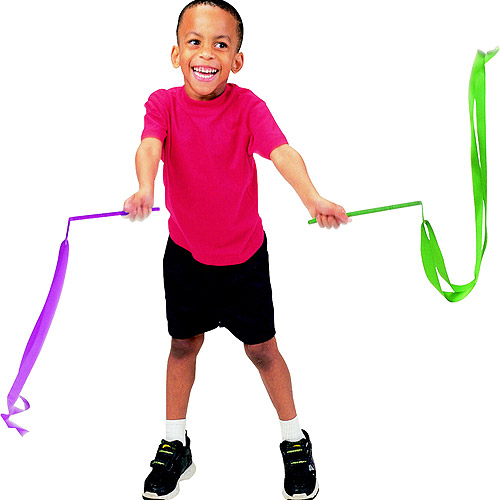 """Sportime Rainbow Ribbon Wands, 72"""", Assorted Colors, Set of 6"""