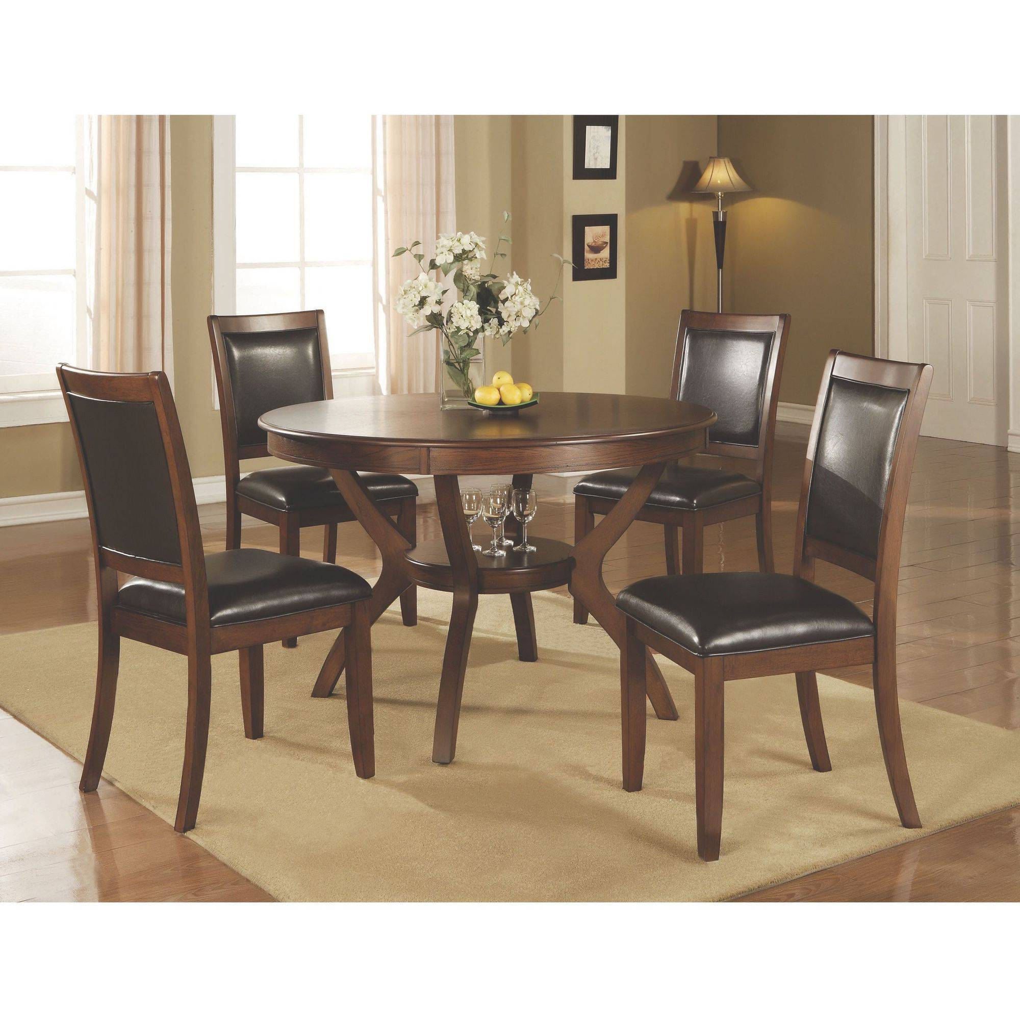 "Coaster pany 48"" Round Nelms Dining Table Deep Brown Walmart"