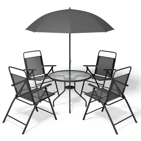 Costway 6 PCS Patio Garden Set Furniture Umbrella Gray with 4 Folding Chairs - Outdoor Tiles