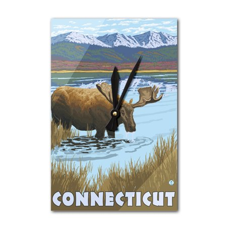 Connecticut - Moose Drinking in Lake - LP Original Poster (Acrylic Wall Clock)