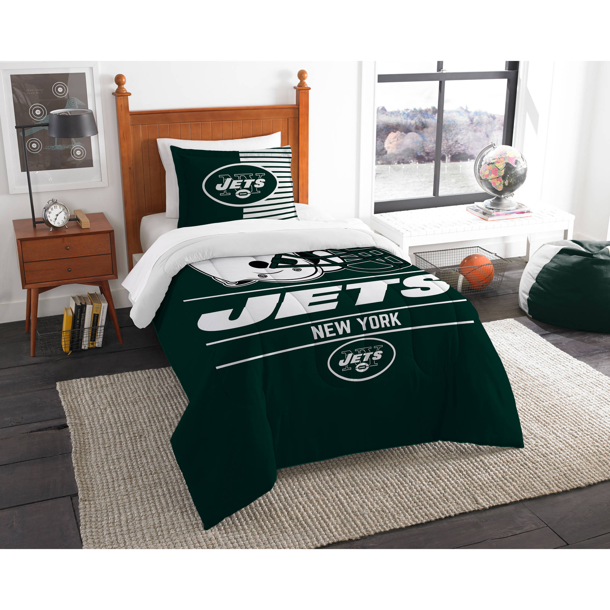 "NFL New York Jets ""Draft"" Bedding Comforter Set"