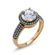 Beverly Hills Silver 18k Two-tone Gold Round Cubic Zirconia 'Debra' Ring