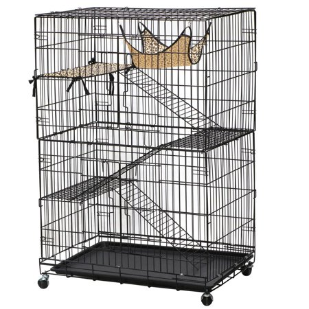 Yaheetech 4 Tier Foldable Cat Home Cages Wire Pet Crate House With Leopard Hammock