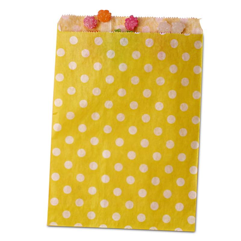 25ea - 8-1/2 X 11 Yellow Polka Dot Merchandise Bag-Pkg by Paper Mart