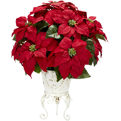 Poinsettia with Metal Planter Silk Flower Arrangement