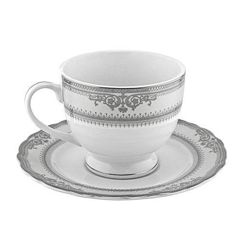 TenStrawberryStreet Studio Ten Vanessa Platinum Tea Cup and Saucer (Set of 6)