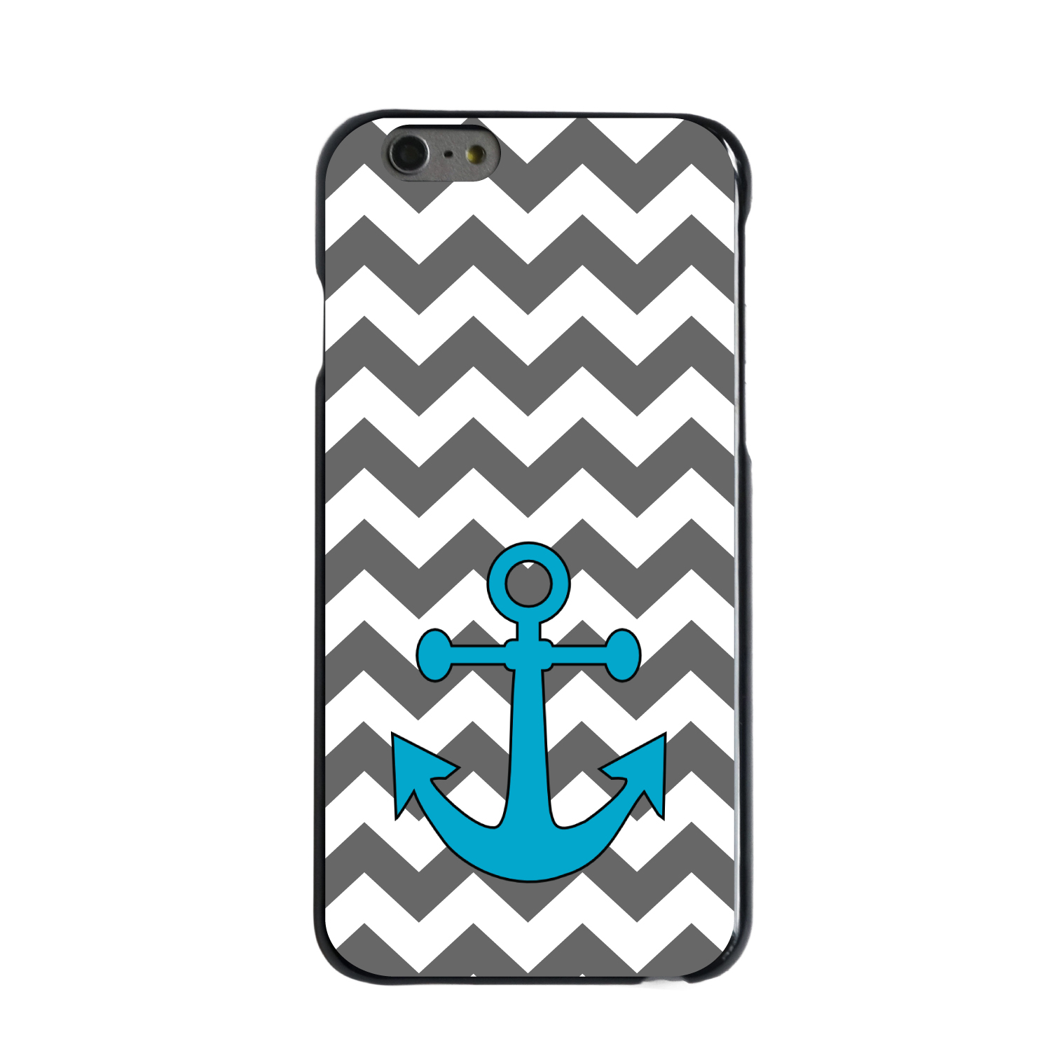"CUSTOM Black Hard Plastic Snap-On Case for Apple iPhone 7 PLUS / 8 PLUS (5.5"" Screen) - Grey White Chevron Teal Anchor"