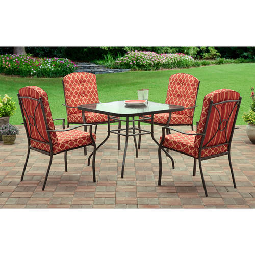 Mainstays Warner Heights 5-Piece Patio Dining Set, Red, Seats 4