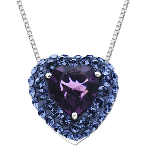 Luminesse Sterling Silver Purple Heart Pendant made with Swarovski Elements, 18""
