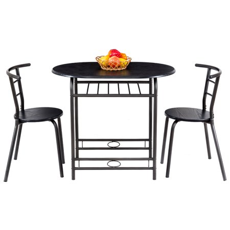 Gymax 3 Piece Dining Set Home Kitchen Furniture Table and 2 Chairs Black ()