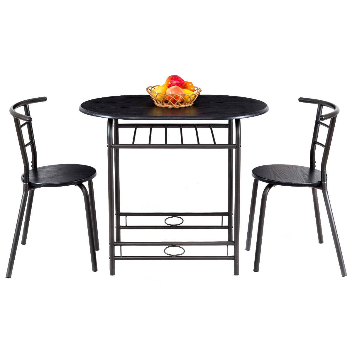 Gymax 3 Piece Dining Set Home Kitchen Furniture Table and 2 Chairs Black