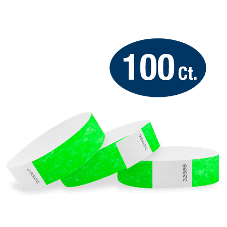 Tyvek Event Wristbands - Neon Green 3/4