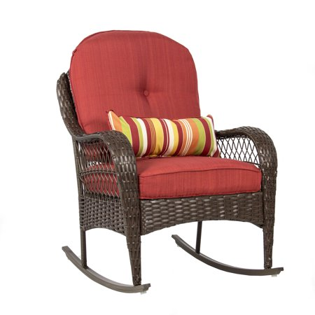 Best Choice Products Outdoor Wicker Patio Rocking Chair w/ Weather-Resistant Cushions and Steel Frame, Red Grand Wicker Rocking Chair