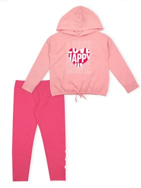 p.s.09 from aeropostale Graphic Fleece Hoodie and Legging, 2-Piece Outfit Set (Little Girls)