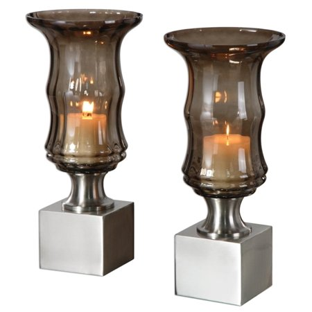 Set of 2 Decorative Modern Silver Base and Ribbed Smoked Glass Pillar Candle Holders 17