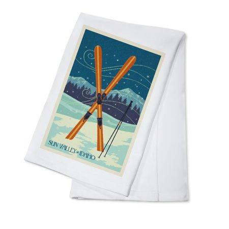 - Sun Valley, Idaho - Crossed Skis - Letterpress - Lantern Press Artwork (100% Cotton Kitchen Towel)