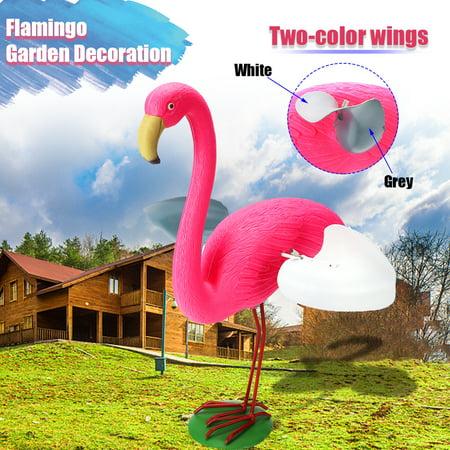 Pink Resin Flamingo Garden Decoration w/Two-Color Wings Flamingo Ornament Set Detachable Wings & Feet Outdoor Garden Home Decoration