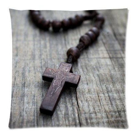 Zippered Rosary Case - ARTJIA A Rosary Cross on Wooden Background Picture Zippered Throw Pillow Cover Cushion Case 18x18 inches Two Sides Printing
