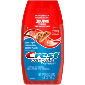 Crest Complete Multi-Benefit Whitening + Cinnamon Expressions Liquid Gel Toothpaste, Cinnamon Rush, 4.6 Oz