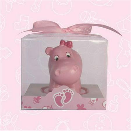 De Yi Enterprise 11012-PK Baby Shower - Cute Pink Baby Hippo Candle Favor