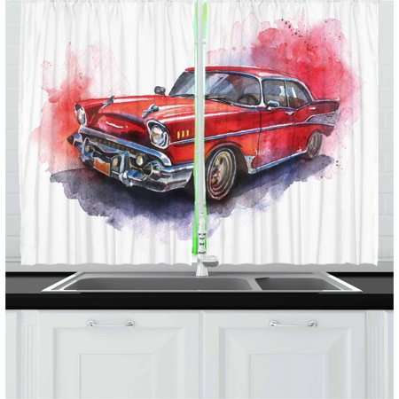 Cac Antique (Watercolor Curtains 2 Panels Set, Hand Drawn Old Fashioned Car Antique Vehicle Retro Outdated Abstract Artwork, Window Drapes for Living Room Bedroom, 55W X 39L Inches, Red Dimgrey, by)