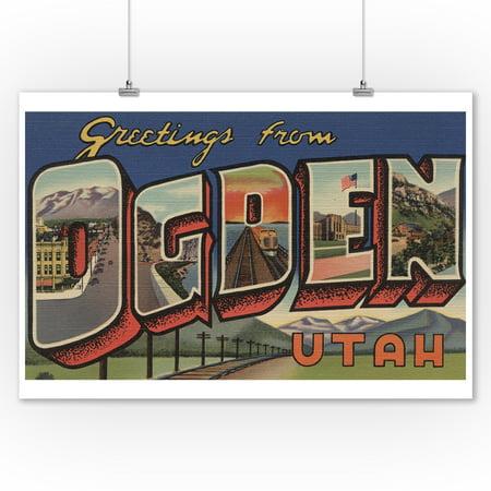 Greetings From Ogden Utah Railroad Landscape 9x12 Art