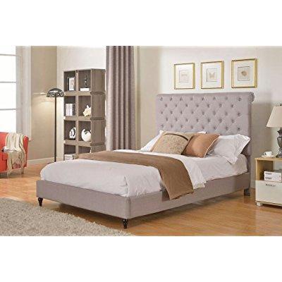 Home Life Cloth Light Grey Silver Linen 51 Tall Headboard Platform Bed With Slats King