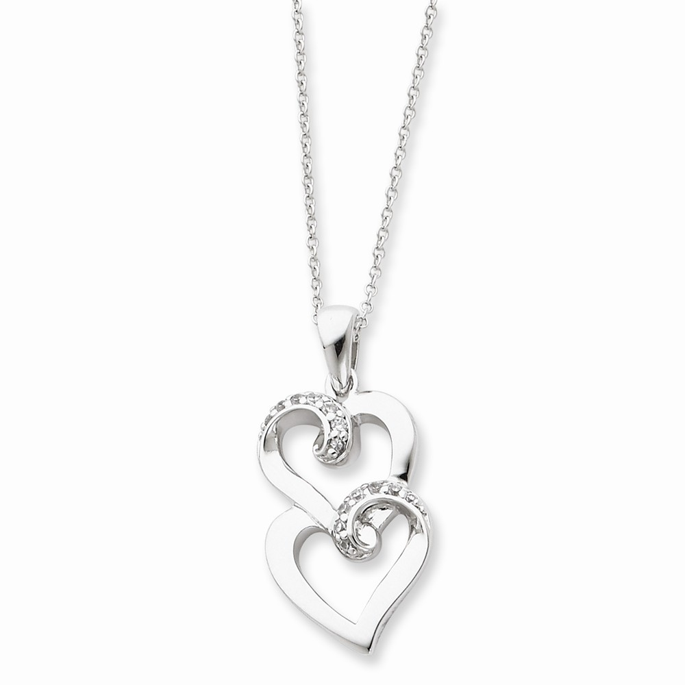 Silver & CZ To My Sister 18in Heart Necklace