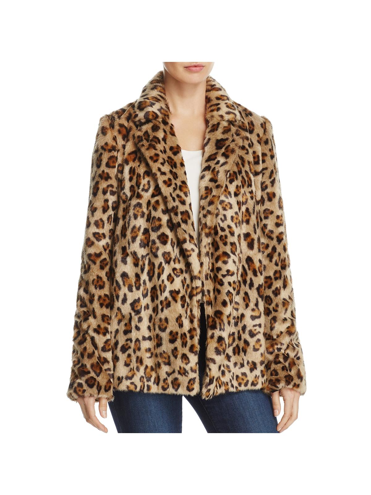 Theory Womens Clairene Winter Leopard Print Faux Fur Coat