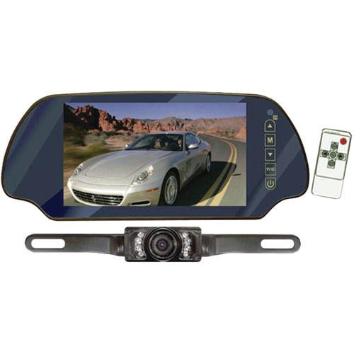 """Pyle PLCM7200 7"""" TFT Mirror Monitor/Backup Night Vision Camera Kit"""