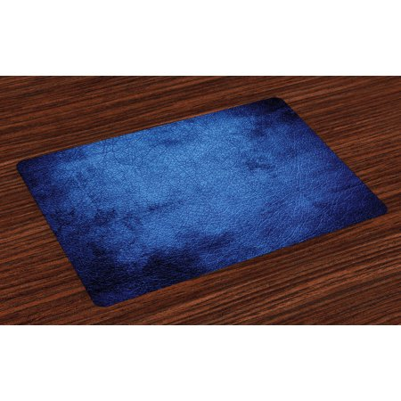 Navy Blue Placemats Set of 4 Martian Alien Skin Like Dark Blue Contemporary Interesting Space Design Art Print, Washable Fabric Place Mats for Dining Room Kitchen Table Decor,Dark Blue, by Ambesonne (Att Skin)