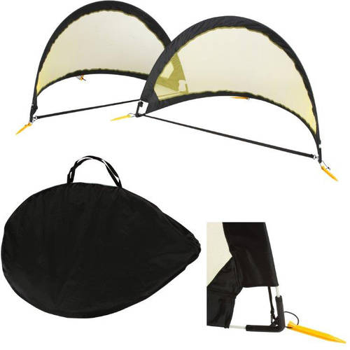 6' Soccer Goals Mesh Portable Goals with Carry Case and Stakes by Trademark Innovations, Black and Yellow, Set... by Trademark Innovations
