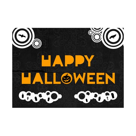 Happy Halloween Orange Print Black And White Background Bird Bat Picture Seasonal Decoration Sign