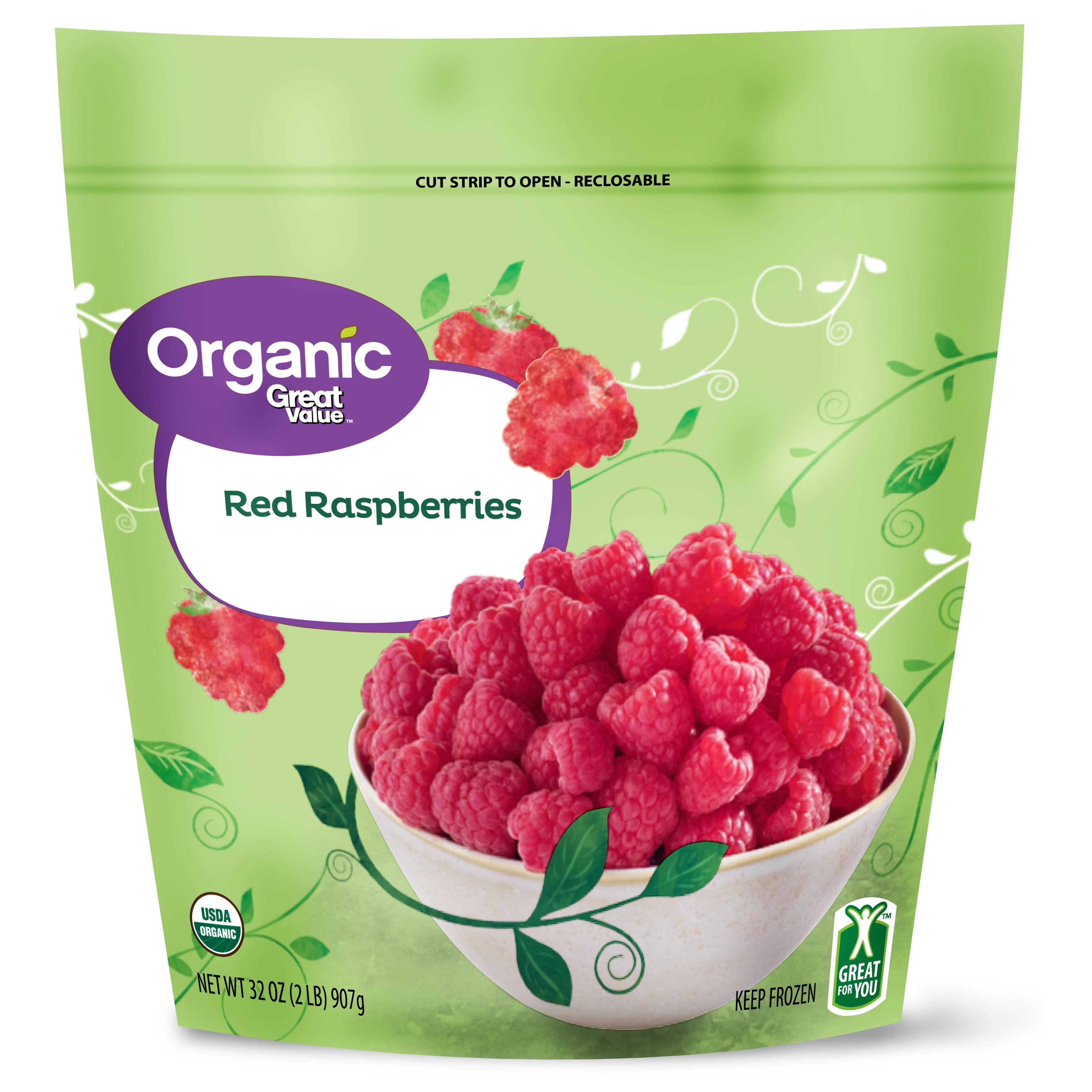 Great Value Organic Red Raspberries, 2 lbs