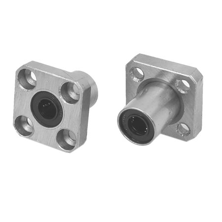 LMK6UU 6mm Inner Dia Square Flange Mount Linear Motion Ball Bearing 2pcs
