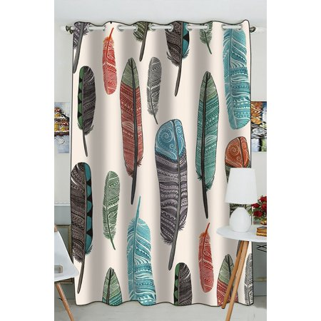 GCKG Colorful Aztec Feather Blackout Curtains Window treatment Panel Drapes 52(W) x 84(H) inches (One Piece)