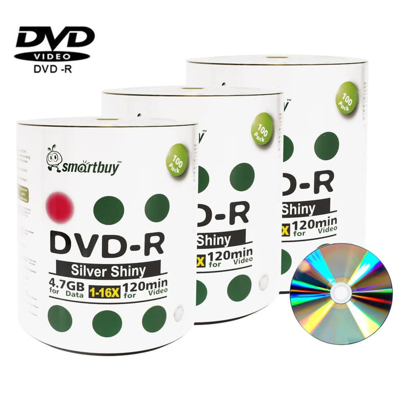 300 Pack Smartbuy 16X DVD-R 4.7GB 120Min Shiny Silver (Non-Printable) Data Blank Media Recordable Disc
