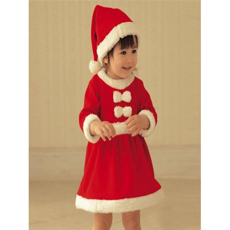 Toddler Kid Baby Girl Christmas Clothes Costume Bowknot Party Dresses+Hat Outfit - Children Christmas Clothing