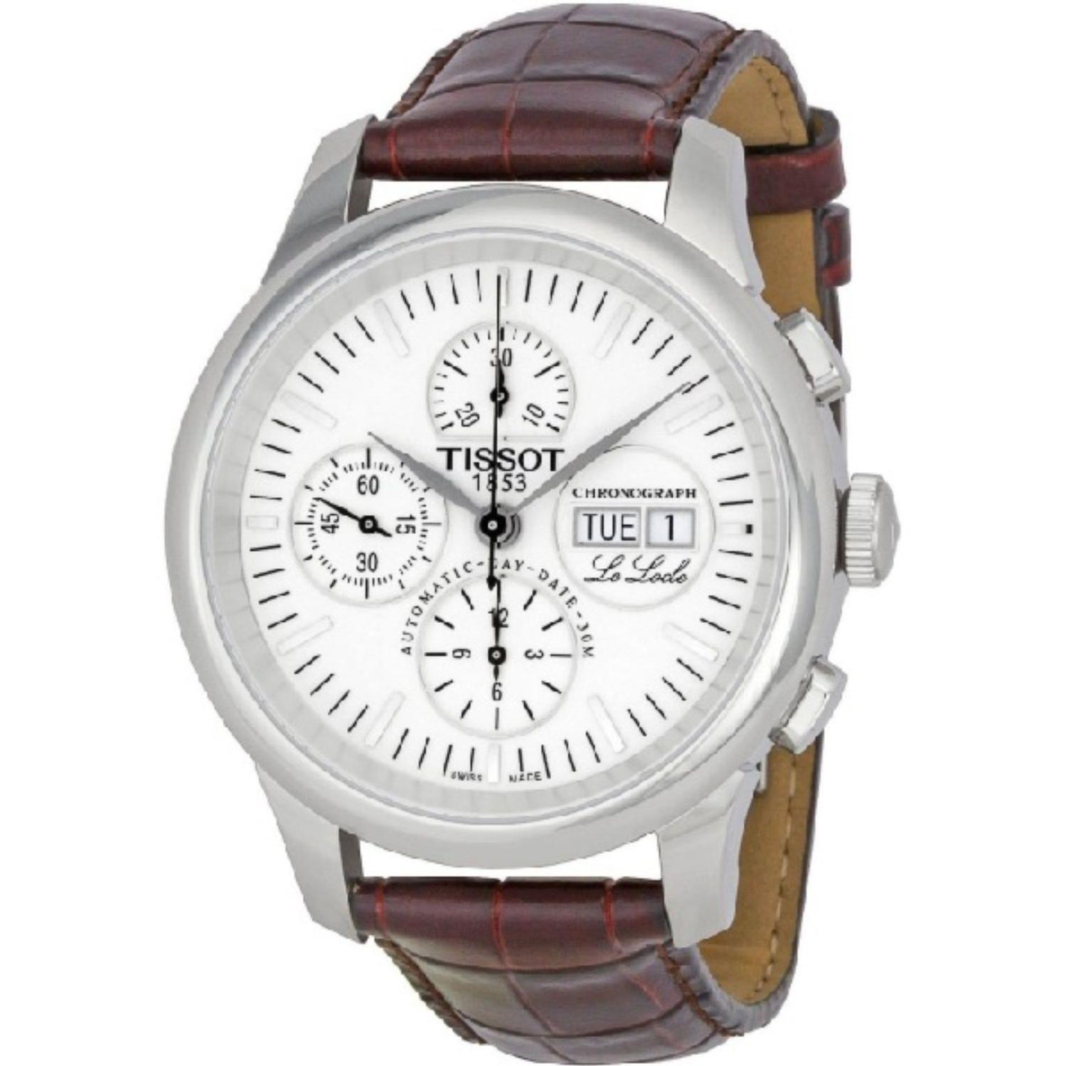 Tissot Men's Le Locle Brown Leather Band Steel Case Automatic White Dial Analog Watch T41.1.317.31