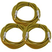Seismic Audio 3 Pack of 18 Foot Yellow Woven Cloth Guitar Cables - Tweed Instrument Cables 18' - SAGCSYW-18-3Pack