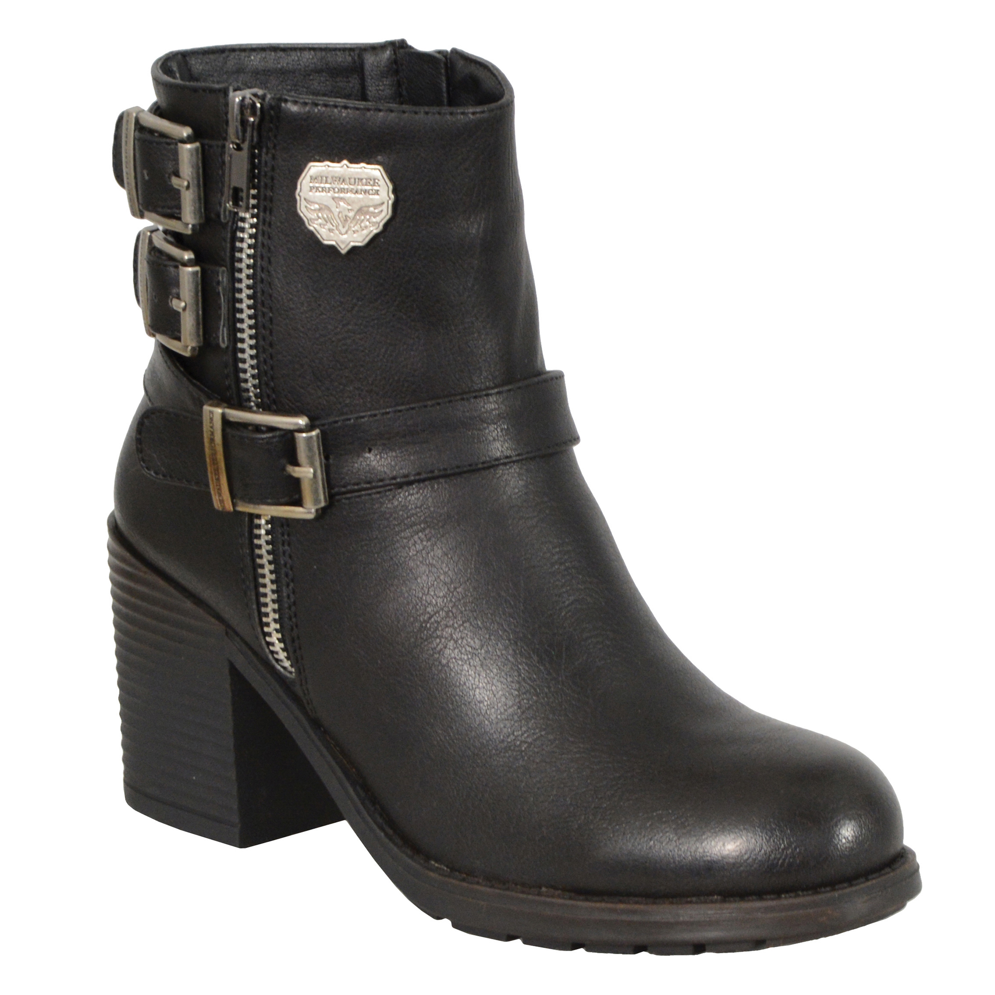 Milwaukee Leather Womens Black Triple Buckle Side Zipper Boots with Platform He