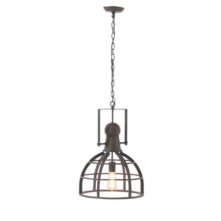Decmode Rustic Iron Caged Brass Pendant Lamp, (Brass Setting Pendant)