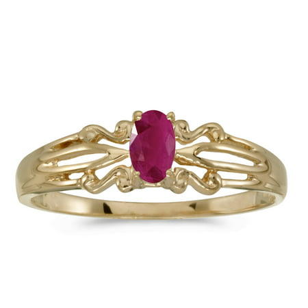 10k Yellow Gold Oval Ruby (Unheated Oval Ruby)