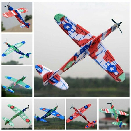 KABOER 10X Glider Rubber Band Elastic Powered Flying Plane Airplane Fun Model Kids Toy Rubber Powered Flying Model