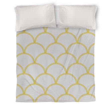 IDG Art Deco Circles Duvet Cover, Gray and Yellow ()